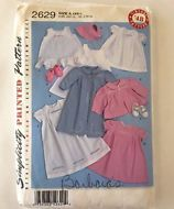 Babies Layette and Bonnet Sewing Pattern 2629 Vintage 48 Pattern Baby Gown Dress