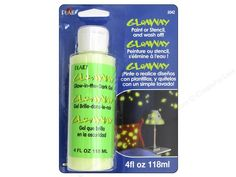 GloAway glows in the dark until you wash it off! Use on washable fabric and surfaces. Must be exposed to bright light to glow. Remove with soap and water. Great to use on walls, ceilings, floors, mirrors, frames, sports equipment, shirts, hats and more. Test surface before use. 4 oz.