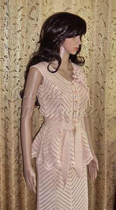 """Suit crocheted by the author """"Brulee cream"""" – suit, knitted suit - Crochet Skirts, Crochet Blouse, Crochet Clothes, Crochet Woman, Love Crochet, Knit Crochet, Blouse Dress, Dress Skirt, Crochet Costumes"""