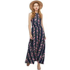 >> Click to Buy << ZAFUL Women Summer Vintage Rose Floral Print Maxi Dress Sexy Backless Slit Lace S~XL Cotton Long Feminino Vestidos Casual Beach #Affiliate