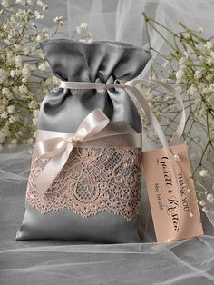 Grey and Peach Wedding Favor Bag Lace Wedding by 4LOVEPolkaDots, $2.00