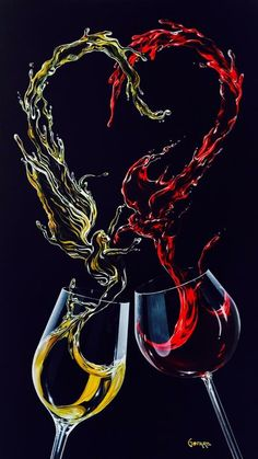 """The Conflict"" by Michael Godard.- ""The Conflict"" by Michael Godard. ""The Conflict"" by Michael Godard. Godard Art, Wine Glass, Glass Art, Wine Painting, Wine Photography, Types Of Wine, Wine Art, In Vino Veritas, Cork Crafts"