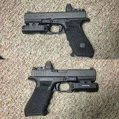 Glock 17. Double undercut and stippled. Inforce light. Trijicon RMR. Tritium sights.
