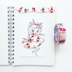 cute little girl with a passion for washi tape Amazing Drawings, Beautiful Drawings, Amazing Art, Kawaii Drawings, Cute Drawings, Washi Tape, Chibi Manga, Drawn Art, Tape Art