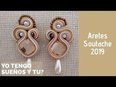 Aretes Soutache paso a paso - YouTube Tutorial Soutache, Shibori, Soutache Earrings, Textile Jewelry, Air Dry Clay, Jewelry Making Tutorials, Diy Jewelry, Gold Rings, Tatting