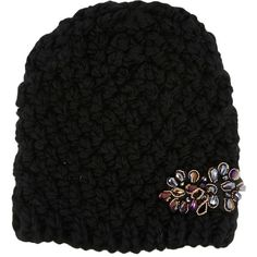Diamante Pineapple-knit Black Hat (570 UYU) ❤ liked on Polyvore featuring accessories, hats, pineapple hat and knit hat