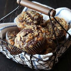 Chocolate Coffee Toffee Crunch Muffins are almost as fun to say as they are to eat. Mocha muffins are topped with a crunchy toffee streusel.