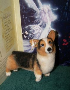 PEMBROKE WELSH CORGI, CARDIGAN WELSH CORGI, FAIRY STEED, NEEDLE FELTED, OOAK - Marigold is 5 inches long and 4 inches tall and has a wire armature and may be posed. Z