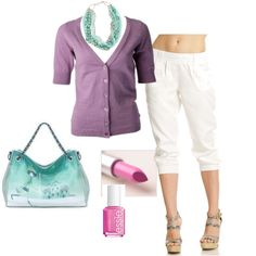 Light Summer - Purple & Green, created by thaliathemuse on Polyvore