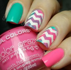 Pastel manicure by @sprinklenails (IG) using our Chevron Nail Vinyls found at snailvinyls.com