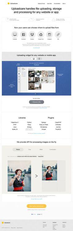 Uploadcare - handles file uploading storage and processing for any website or app - Webdesign inspiration www.niceoneilike.com