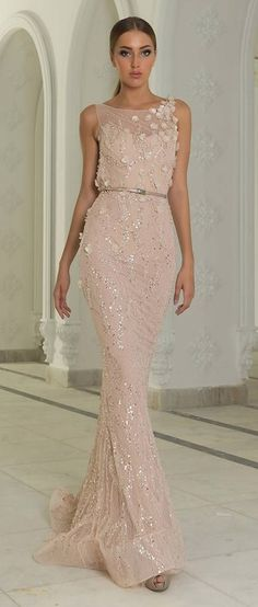 Pale pink evening gown with sequins and flower detail (Winter Bliss Fall/Winter 2014-2015 Couture Collection by Abed Mahfouz)