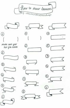 banners how to draw step by step for bulletin journals