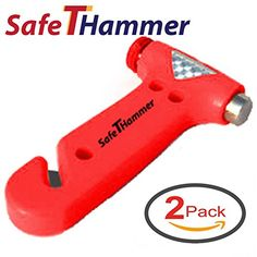 Car Safety Hammer - Emergency Preparedness Window Breaker - Twin Pack Seat Belt Cutter Auto Escape or Rescue Tool - For Vehicle Emergency Kit - Use One For Each Automobile, Truck, SUV - Avoid Roadside Disaster In And Add To Your Auto Emergency Kit. SafeTHammer http://www.amazon.com/dp/B00RR68D5O/ref=cm_sw_r_pi_dp_A-YEvb1CBCZWS