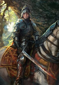 Art featuring medieval knights and their fantasy/sci-fi counterparts. High Fantasy, Fantasy Women, Fantasy Rpg, Medieval Fantasy, Fantasy Artwork, Fantasy Books, Female Knight, Female Armor, Lady Knight