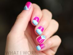 Cool tri-coloured manicure. Reminds me of a popsicle!