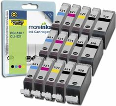 15 Moreinks Compatible Printer Ink Cartridges to replace Canon CLI-521 / PGI-520 - Cyan / Magenta / Yellow / Black: Amazon.co.uk: Office Pro...