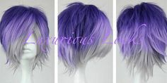 Destin // Purple to Grey Ombre Full Synthetic Wig