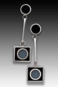 Two Dot Square Earrings by Eileen Sutton