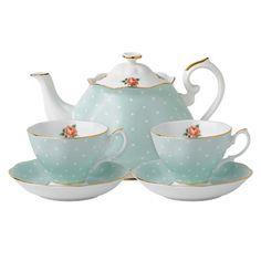Royal Albert Polka Rose Vintage Tea For Two Set