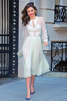 Miranda Kerr #white #dress #gorgeous #longsleeve