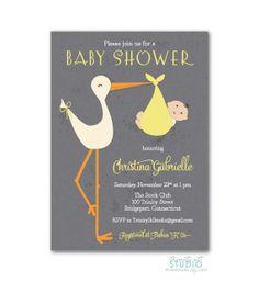 Stylish Retro Stork Baby Shower Invitation  by TrinityStStudio, $17.00