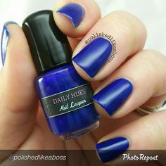 "by @polishedlikeaboss ""Next up from the @dailyhuesnaillacquer Shifty Neons collection is Blake, a juicy, shimmery, dark blue. The formula on this was jelly-like, definitely unlike anything in the rest of the collection. Here, you see three coats to eliminate any VNL. The Shifty Neons collection releases on May 31st! Visit the Daily Hues IG page for more information and where to buy!  #indieaday #dailyhuesnaillacquer #polishedlikeabossdailyhues #shiftyneons #indiebossstyle #indienails…"