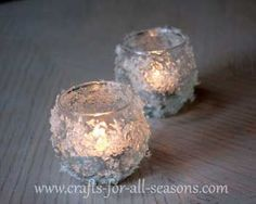 Things Needed:    plain glass votive candle holders  decoupage medium, such as Mod Podge  paintbrush  imitation snow (the flaky type, found in craft stores during the Winter months)  paper plate