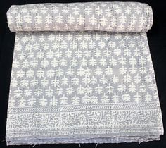 Indian Cotton Kantha Bed Cover Dabu Print Bedspread Hand Block Quilt Throw Khushihandicraft
