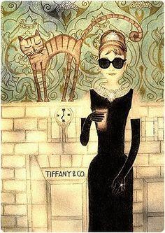 Skinny Audrey  by Mita Indira - breakfast cat Tiffany's