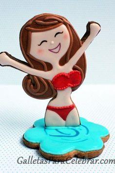 Summer Swim cookies       ¡¡¡ Vacaciones !!! Cute bathing beauty by GalletasParaCelebrar.com