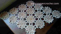 Supercroche Centro de Mesa em croche - Castanho em Flor