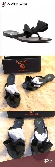 New PVC Dizzy Bow Flip Flops in Matte Black SZ 7.5 Brand new in box. These PVC edgy matte black flip flops are amazing. Yes, they look like Valentino but are made by Dizzy. I would say these are definitely inspired (but legal) 😉. Size listed as 8 and 9 but these run 1/2 size small (see photos for details). Box included. Additional colors available in my closet! Bundle discounts and daily shipping. Happy Poshing! Dizzy Shoes Sandals