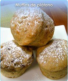 Muffins de plátano, añadir una cdta de polvo para hornear