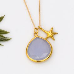 18K Vermeil Sea Star Charm Necklace with bezel set Natural Blue Chalcedony drop in 14K gold filled Chain