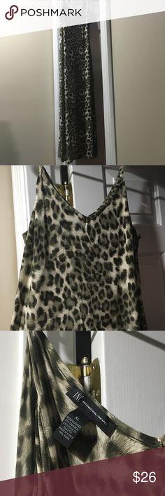 Leopard maxi dress EUC INC leopard print maxi dress in shades of green. No holes, stains, etc INC International Concepts Dresses Maxi