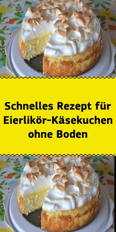 Schnelles Rezept für Eierlikör Käsekuchen ohne BodenWe love cheesecake - and we love eggnog! How good that our two favorite components come together in this wonderful eggnog cheesecake. Are you still looking for an uncomplicated dessert for Easter? Quick Dessert Recipes, Best Cake Recipes, Quick Recipes, Easy Desserts, Appetizer Recipes, Eggnog Cheesecake, Cheesecake Recipes, Scones Ingredients, Dessert Simple