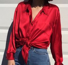 Silk shirt tie it Fashion 90s, Look Fashion, Fashion Outfits, Gothic Fashion, Outfits Con Camisa, Blouse Sexy, Mode Instagram, Looks Style, My Style