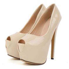 New Apricot PU Peep Toe High Heel Pumps   martofchina.com
