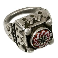 Persian Jewelry – Silver Ring with murrina