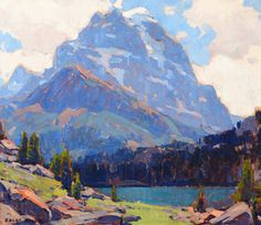 #mountain #lake #art EDGAR PAYNE Shadowed Peak Oil on Canvas 24″ x 28″