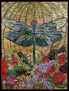 Dragonfly Art Print, Art Nouveau Home Decor, Original Paper Illustration, Tiffany Stained Glass Look, Dragonfly with Flowers Art Nouveau, Nouveau Tattoo, Stained Glass Art, Stained Glass Windows, Leaded Glass, Dragonfly Stained Glass, Mosaic Art, Mosaic Glass, Mosaics