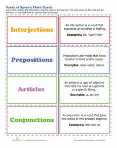 This parts of speech worksheet is great for teaching your child about interjections and more. Use this parts of speech worksheet to get in gear with grammar. Parts Of Speech Practice, Parts Of Speech Worksheets, Writing Worksheets, Homeschool Worksheets, Grammar Lessons, Grammar Review, Grammar Book, Teaching Grammar