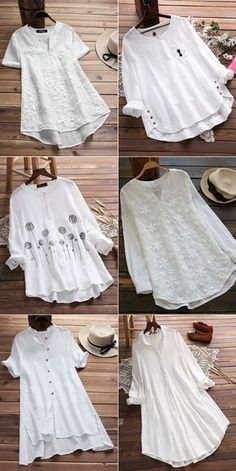 Up to off vintage casual white floral blouses on newchic make you a perfect look everyday shop now Stylish Dresses, Casual Dresses, Kurti With Jeans, Boho Fashion, Fashion Dresses, Fashion Trends, Stitching Dresses, Vestidos Plus Size, Tunic Designs