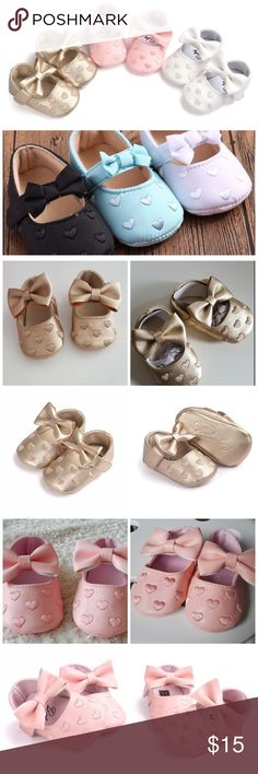🌸 Baby Girl Mary Jane Shoes, 0 - 6 months These are a pair of adorable Mary Jane bow tie shoes for your darling little one. Available in six color choices:  Gold, White & Pink (made of leather)  Black & Gold, Blue & Beige (made of cotton)    Size 1 Shoe = 0 - 6 Months, Insolle Length 11 cm Shoes Baby & Walker