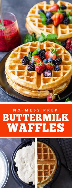 Classic breakfast buttermilk waffles are perfect for any morning you want to enjoy a family breakfast. These waffles are prepped in one-bowl and require simple ingredients you probably have on hand at home. These waffles are fluffy and airy inside and have a crispy outside, they are perfect for the whole family. These waffles are the perfect thing to serve at brunches. #buttermilkwaffles #waffles