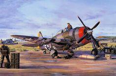 """Republic P-47D """"Thunderbolt"""" preparándose para despegar en 1.944. Más en www.elgrancapitan.org/foro/"""