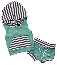 Amazon.com: JUSUN 2PCS Infant Baby Boys Girls Sleeveless Hoodie+Short Pants Outfits Set Clothes: Clothing