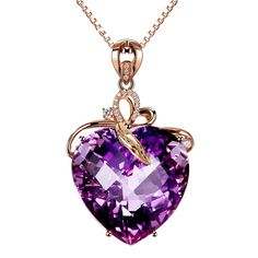 Shop, Necklaces, Pendants, Women's Amethyst(Created) Heart Cubic-zirconia Crystal Rose Gold Plated Necklace Pendant - C212N1RHY87  #Necklaces #style #Accessories #jewelry #fashion #shopping #Pendants