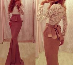 Alluring Round Collar Long Sleeve Spliced Lace-Up Flounced Dress